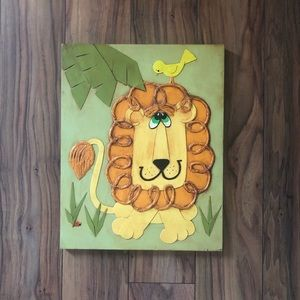 Vintage Handmade Lion and Bird Wood Wall Art